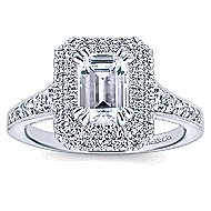 Jasmine 14k White Gold Emerald Cut Double Halo Engagement Ring