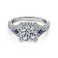 Jazz 18k White Gold Round 3 Stones Halo Engagement Ring angle 1