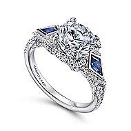 Jazz 18k White Gold Round 3 Stones Halo Engagement Ring angle 3