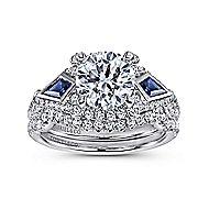 Jazz 18k White Gold Round 3 Stones Halo Engagement Ring angle 4