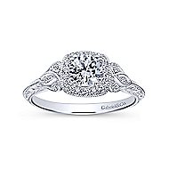 Joan 14k White Gold Round Halo Engagement Ring