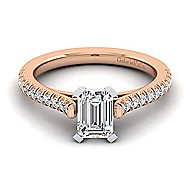 Joanna 14k White And Rose Gold Emerald Cut Straight Engagement Ring angle 1