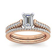 Joanna 14k White And Rose Gold Emerald Cut Straight Engagement Ring angle 4