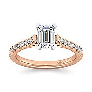Joanna 14k White And Rose Gold Emerald Cut Straight Engagement Ring angle 5