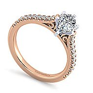 Joanna 14k White And Rose Gold Pear Shape Straight Engagement Ring angle 3
