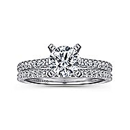 Joanna 14k White Gold Round Straight Engagement Ring angle 4