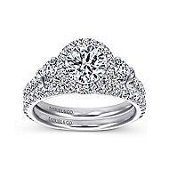 Jolene 14k White Gold Round 3 Stones Halo Engagement Ring