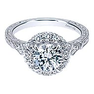Jolly 18k White Gold Round Halo Engagement Ring angle 1