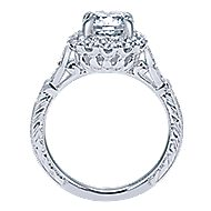 Jolly 18k White Gold Round Halo Engagement Ring angle 2