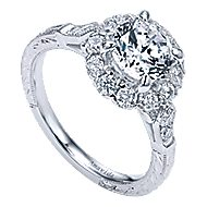 Jolly 18k White Gold Round Halo Engagement Ring angle 3