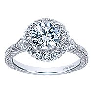 Jolly 18k White Gold Round Halo Engagement Ring angle 5