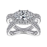 Josefina 18k White Gold Marquise  Halo Engagement Ring