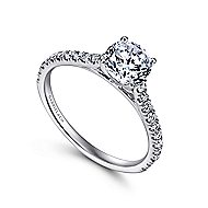 Josephine 18k White Gold Round Straight Engagement Ring angle 3