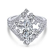 Jules 18k White Gold Marquise  Split Shank Engagement Ring angle 1