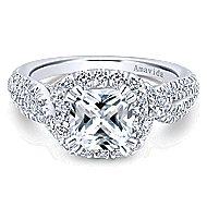 Julietta 18k White Gold Cushion Cut Halo Engagement Ring angle 1