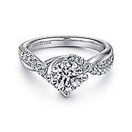 Julissa 14k White Gold Round Bypass Engagement Ring angle 1