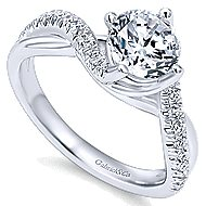 Julissa 14k White Gold Round Bypass Engagement Ring angle 3