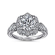 Julius 18k White Gold Round Halo Engagement Ring angle 5