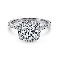 June 18k White Gold Round Halo Engagement Ring angle 1