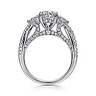 Juniper 14k White Gold Round 3 Stones Engagement Ring angle 2