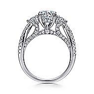 Juniper 14k White Gold Round 3 Stones Engagement Ring angle 2