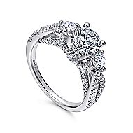 Juniper 14k White Gold Round 3 Stones Engagement Ring angle 3