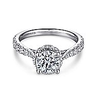 Juno 14k White Gold Round Straight Engagement Ring angle 1