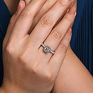 Juno 14k White Gold Round Straight Engagement Ring angle 6