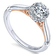 Kailani 14k White And Rose Gold Round Halo Engagement Ring angle 3