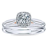 Kailani 14k White And Rose Gold Round Halo Engagement Ring angle 4
