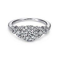Kalinda 14k White Gold Round Halo Engagement Ring