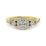 Kalinda 14k Yellow Gold Cushion Cut Halo Engagement Ring angle 1