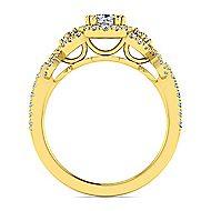 Kalinda 14k Yellow Gold Cushion Cut Halo Engagement Ring angle 2