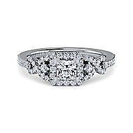 Kalinda Platinum Princess Cut Halo Engagement Ring angle 1