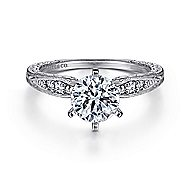 Kate 14k White Gold Round Straight Engagement Ring angle 1