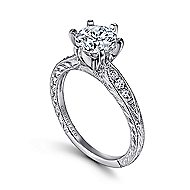 Kate 14k White Gold Round Straight Engagement Ring angle 3