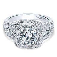 Kathleen 14k White Gold Round Double Halo Engagement Ring angle 1