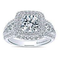 Kathleen 14k White Gold Round Double Halo Engagement Ring angle 5