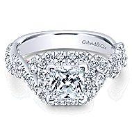 Katrina 14k White And Rose Gold Princess Cut Halo Engagement Ring
