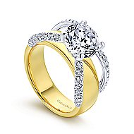 Keiko 18k Yellow And White Gold Round Split Shank Engagement Ring angle 3