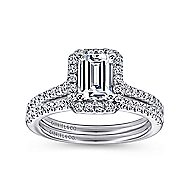 Kelsey 14k White Gold Emerald Cut Halo Engagement Ring angle 4