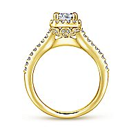 Kelsey 14k Yellow Gold Emerald Cut Halo Engagement Ring angle 2