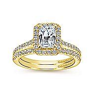 Kelsey 14k Yellow Gold Emerald Cut Halo Engagement Ring angle 4