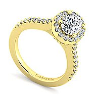 Kelsey 14k Yellow Gold Oval Halo Engagement Ring angle 3