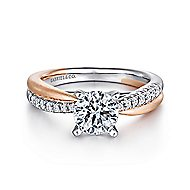Kendall 14k White And Rose Gold Round Twisted Engagement Ring angle 1