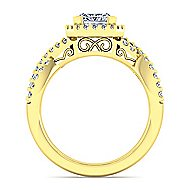 Kendie 14k Yellow Gold Princess Cut Halo Engagement Ring