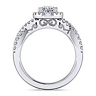 Kendie Platinum Oval Halo Engagement Ring angle 2