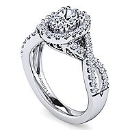 Kendie Platinum Oval Halo Engagement Ring angle 3