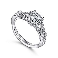 Kendra 14k White Gold Round Split Shank Engagement Ring angle 3