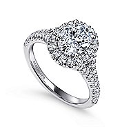 Kennedy 14k White Gold Oval Halo Engagement Ring angle 3